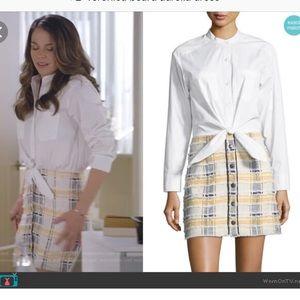 "Veronica Beard ""Aurelia"" mixed media shirt dress 6"